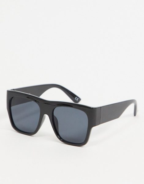 ASOS DESIGN - Eckige Sonnenbrille aus schwarzem Kunststoff mit schwarz getönten Gläsern im Stil der 70er