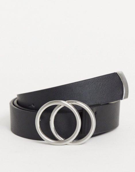 ASOS DESIGN - Enger Gürtel aus Kunstleder in Schwarz mit doppelter, runder Silberschnalle