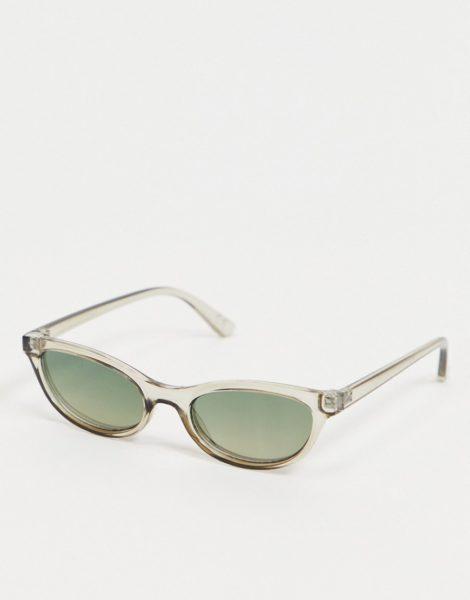 ASOS DESIGN - Graue, quadratische Sonnenbrille im Stil der 90er-Jahre mit getönten Gläsern