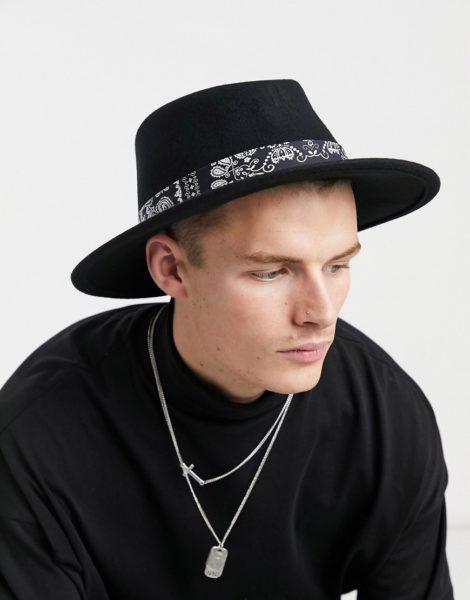ASOS DESIGN - Größenverstellbarer, schwarzer Hut mit breiter Bandana-Krempe und Band