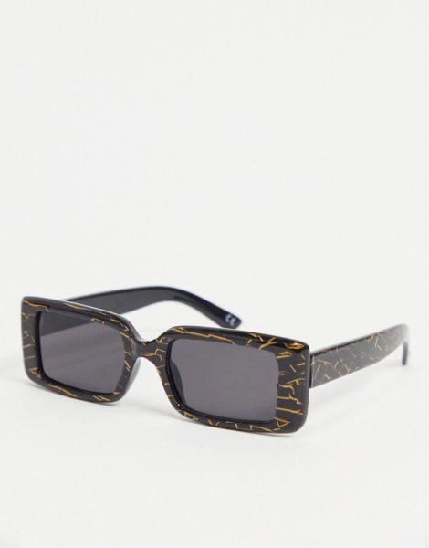 ASOS DESIGN - Mittelgroße, rechteckige Sonnenbrille in Schwarz mit rauchig getönten Gläsern