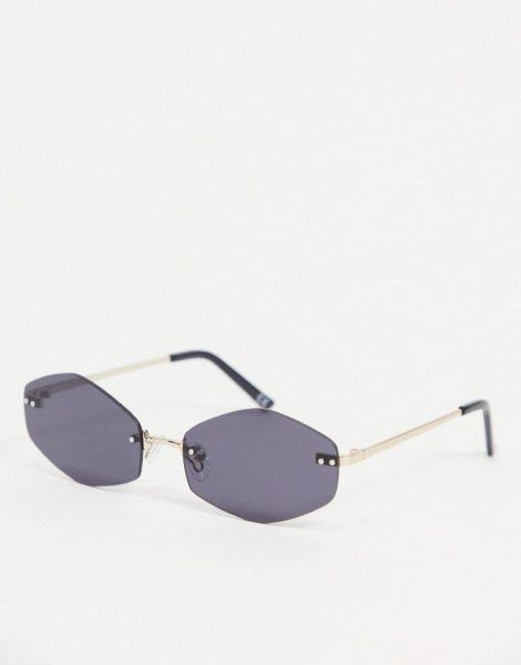 ASOS DESIGN - Ovale, randlose Sonnenbrille mit dunkel getönten Gläsern-Schwarz