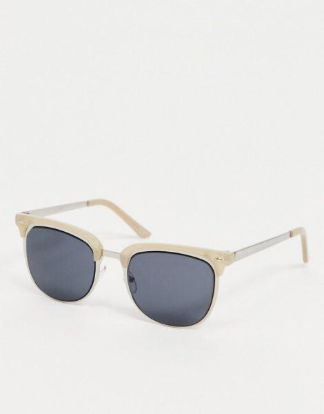 ASOS DESIGN - Retro-Sonnenbrille in Champagner und Silber mit getönten Gläsern-Braun