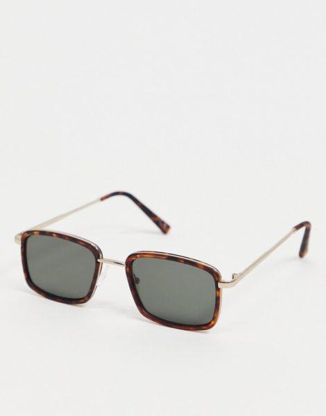 ASOS DESIGN - Schmale, eckige Sonnenbrille in Schildpattoptik mit getönten Gläsern-Braun