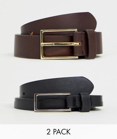 ASOS DESIGN - Schmale, elegante Gürtel aus Kunstleder in Schwarz und Braun im 2er-Pack, SPECIAL OFFER-Mehrfarbig