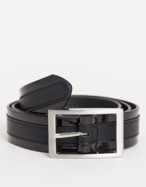 ASOS DESIGN - Schmaler Gürtel aus schwarzem Kunstleder mit glänzendem Detail und silberfarbener Schnalle