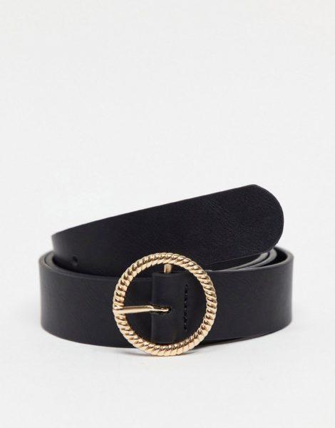 ASOS DESIGN - Schmaler Gürtel aus schwarzem Kunstleder mit runder Schmuckschnalle in Gold