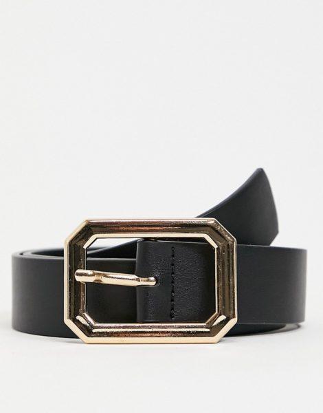 ASOS DESIGN - Schmaler Gürtel aus schwarzem Kunstleder mit sechseckiger Schnalle in Gold