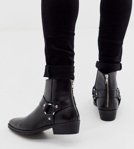 ASOS DESIGN - Schwarze Chelsea-Stiefel im Westernstil aus Leder mit kubanischem Absatz und Schnalle