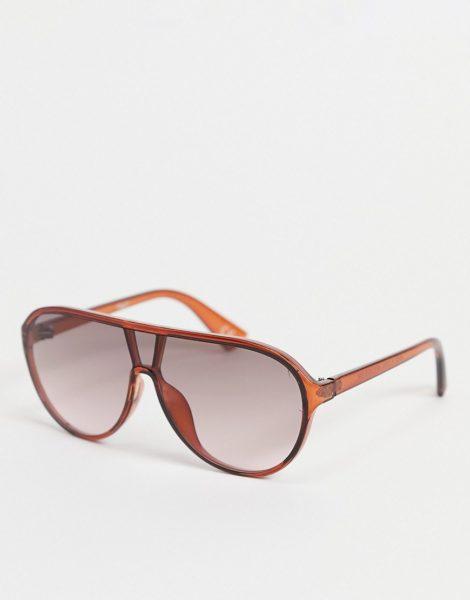 ASOS DESIGN - Sonnenbrille aus braunem Kunststoff mit flachem Brauensteg