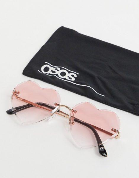 ASOS DESIGN - Sonnenbrille mit herzförmigen Gläsern in Rosa