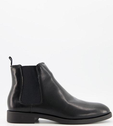 ASOS DESIGN Wide Fit - Chelsea-Stiefel in Schwarz aus Kunstleder mit schwarzer Sohle