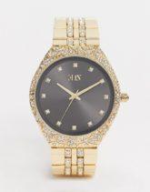 ASOS EDITION - Goldene Armbanduhr mit Kristallen
