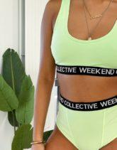 ASOS - Weekend Collective - Brasilianisches Höschen mit hohem Beinausschnitt und Logo-Kontrastband in Grün