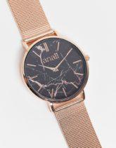Anaii - Uhr mit Marmordesign und schwarzem Zifferblatt-Goldfarben