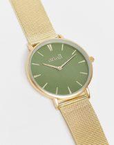 Anaii - Uhr mit Netzarmband und grünem Zifferblatt-Goldfarben