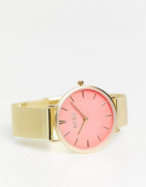 Anaii - Uhr mit Netzarmband und rosa Zifferblatt-Goldfarben