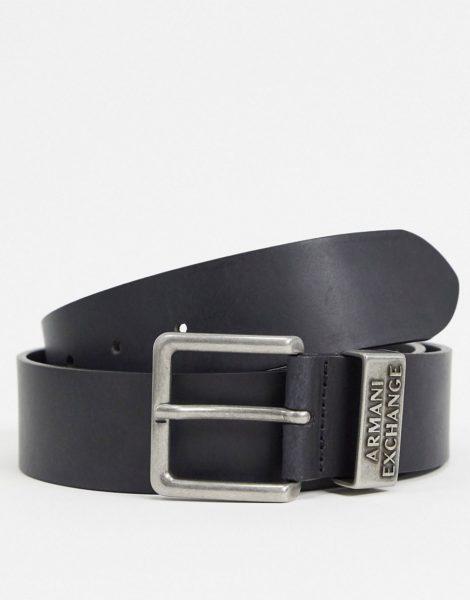 Armani Exchange - Gürtel mit Logo in Schwarz