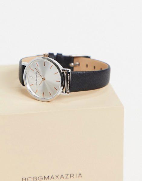 BCBG Max Azria - Uhr mit schwarzem Armband und silberfarbenem Zifferblatt