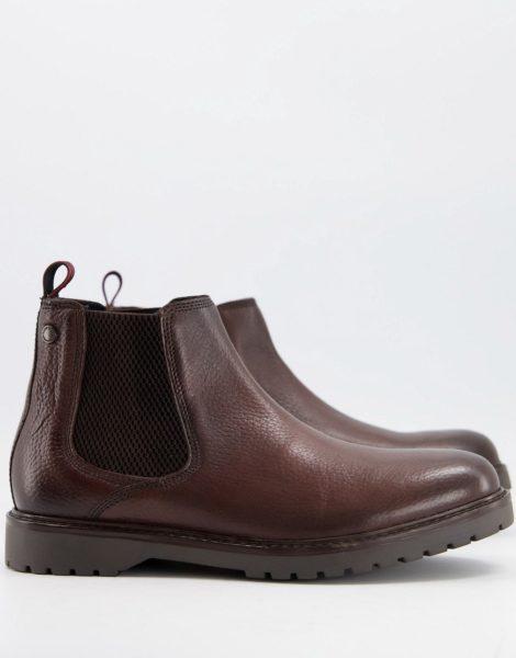Base London - Anvil - Chelsea-Stiefel in Braun aus braunem Leder
