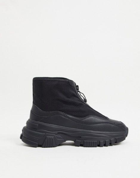 Bershka - Stiefel mit Reißverschluss und dicker Sohle in Schwarz