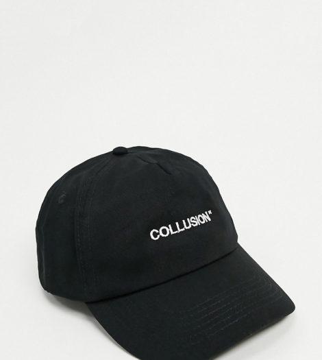 COLLUSION Unisex - Schwarze Kappe mit Logo