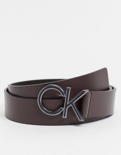 Calvin Klein - Brauner Gürtel mit CK-Logo, 35 mm