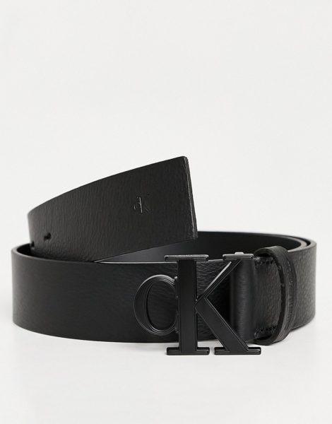 Calvin Klein Jeans - Gürtel in Schwarz mit Logoplakette, 35 mm
