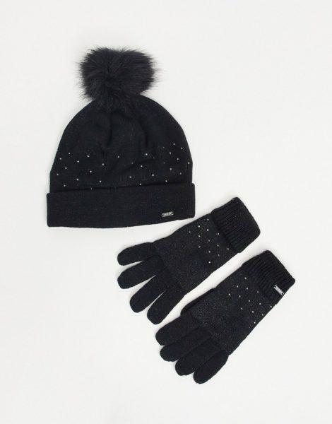 Dare2b X Swarovski - Bejewel - Verziertes Set mit Mütze und Handschuhen in Schwarz