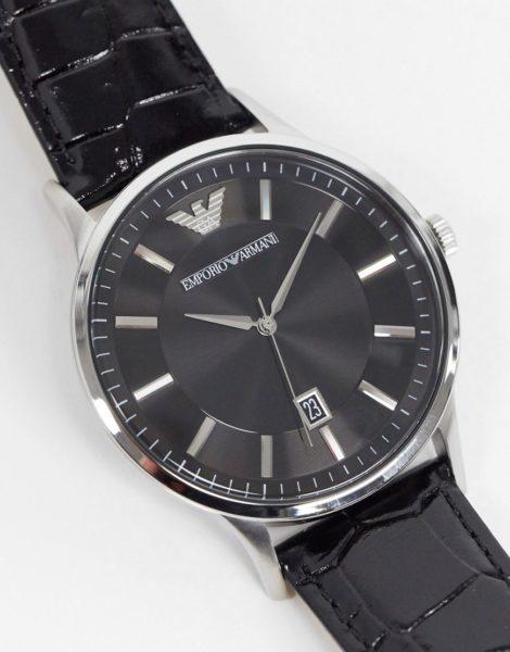 Emporio Armani - AR 11186 - Armbanduhr in Schwarz aus Leder