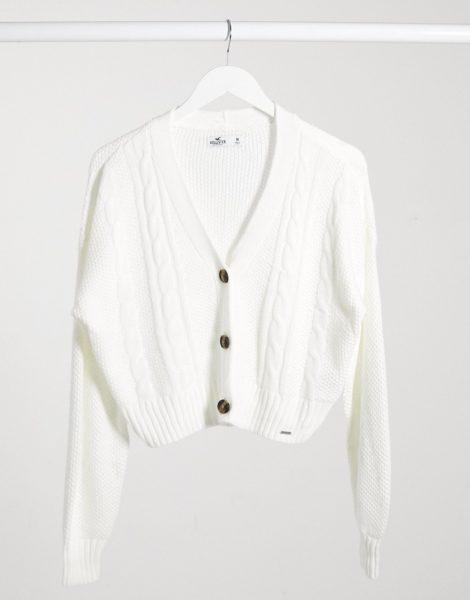 Hollister - Kurz geschnittene Strickjacke in Weiß