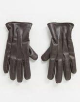 Jack & Jones - Braune Handschuhe aus Kunstleder