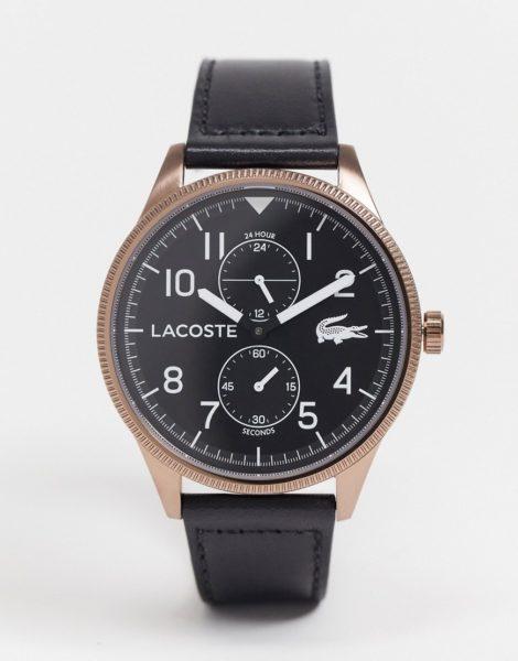 Lacoste - Continental - Uhr mit Lederband-Schwarz
