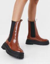Public Desire - Blame - Stiefel in Kroko-Bronzeton mit dicker Sohle