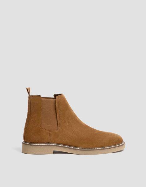 Pull&Bear - Chelsea-Stiefel in Bronzeton aus Wildlederimitat-Braun