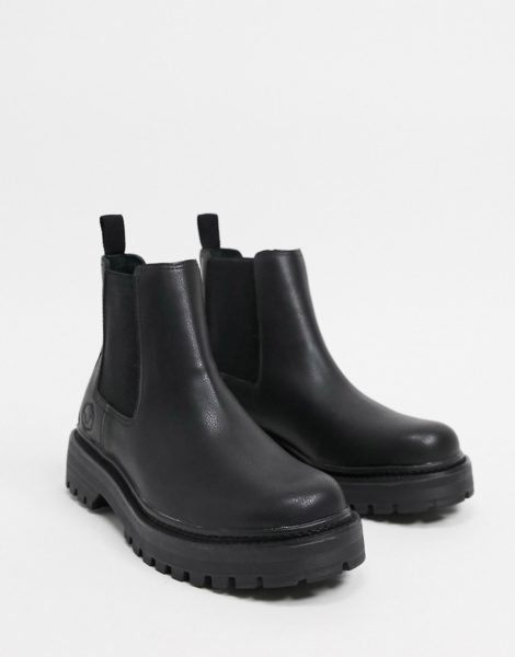 Pull&Bear - Schwarze Chelsea-Stiefel mit dicker Sohle