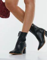 Pull&Bear - Stiefel aus Leder in Schwarz mit Absatz