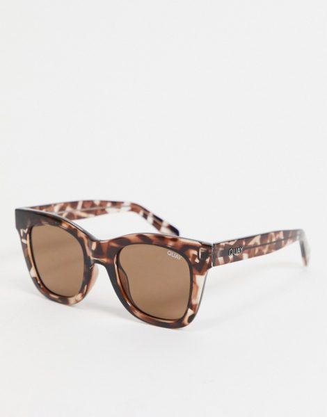 Quay Australia - After Hours - Eckige Oversized-Sonnenbrille in Schildpattoptik für Damen-Braun
