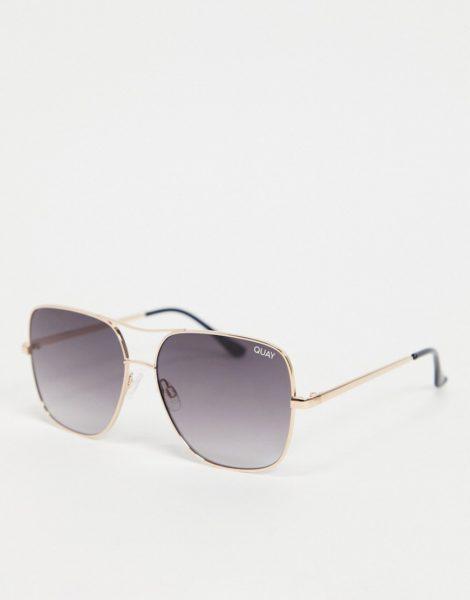 Quay - Stop and Stare - Goldfarbene, eckige Oversize-Sonnenbrille für Damen-Braun