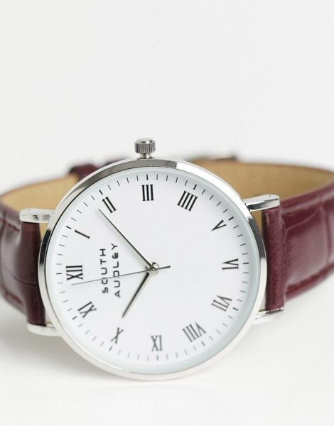 South - Audley - Uhr mit Armband in Krokodillederoptik-Braun