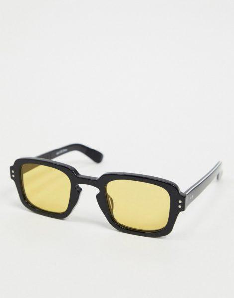 Spitfire - Cut Fifteen - Eckige Sonnenbrille in Schwarz mit gelben Gläsern im Stil der70er