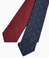 Topman - 2er-Pack Krawatten in Marineblau gepunktet und Burgunderrot-Mehrfarbig