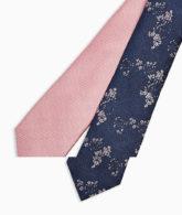 Topman - 2er-Pack Krawatten mit Blümchenmuster und in strukturiertem Rosa-Mehrfarbig