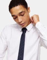 Topman - Gepunktete Krawatte in Marine und Weiß-Blau