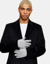 Topman - Handschuhe mit Touchscreen-Detail in Hellgrau