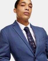 Topman - Krawatte mit Blümchenmuster in Marineblau