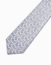 Topman - Krawatte mit Paisleymuster in Silber und Blau