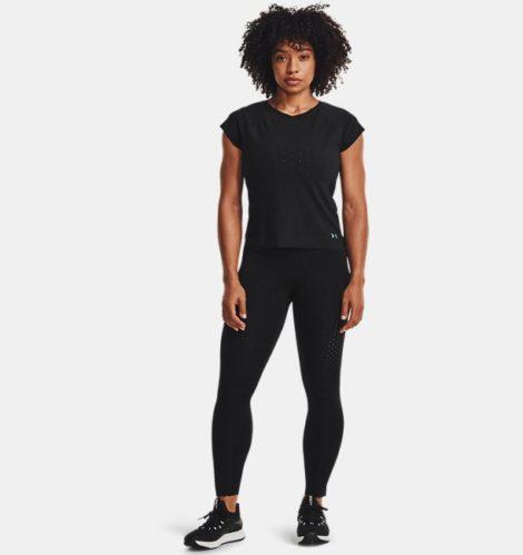 Under Armour Damen UA RUSH™ Knöchellange Leggings mit perforierten Einsätzen Schwarz LG