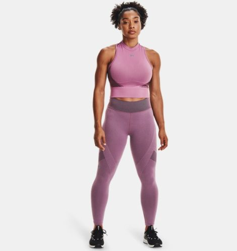 Under Armour Damen UA RUSH™ Seamless Crop-Top Lila LG