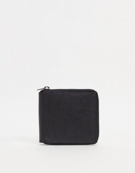 Urbancode - Geldbörse aus Leder mit Rundum-Reißverschluss-Schwarz